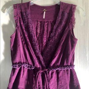 Free People sleeveless wrap blouse size S